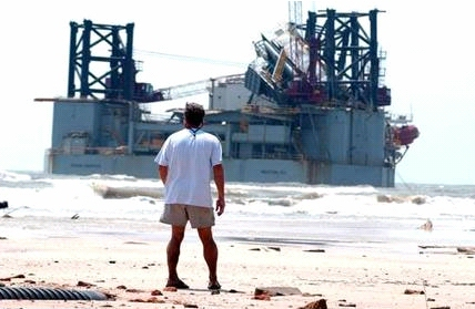 Oil Rig beached just off Dauphin Island Alabama after Katrina - image Jan-Michael Stump